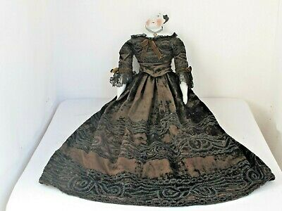 Large Antique China Doll Head As Is Fabulous Victorian Dress and Hat