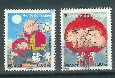 Superbe Paire Timbres Nouvel Ans Chinois 2019 Oblitere Ttb Pcd Rond