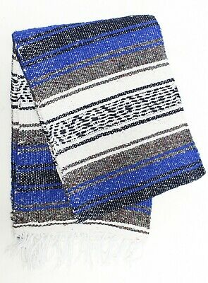LITE MEXICAN BLANKET ROYAL BLUE 2' x 6' Perfect for Yoga Pilates Lightweight