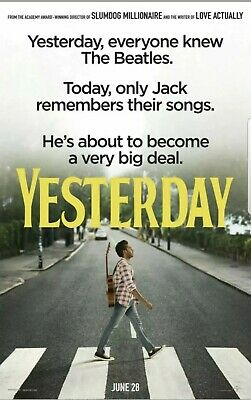 Yesterday - original DS movie poster - 27x40 D/S 2019  Beatles , Danny Boyle