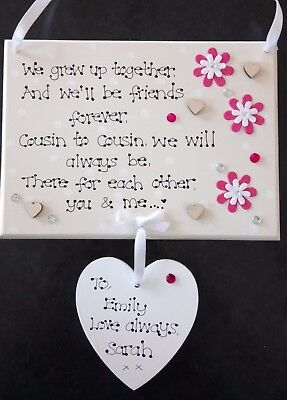 Personalised Cousin to Cousin Best Friends Always Thank You Poem Gift Plaque