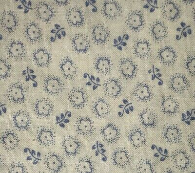 1/2 Yd Vintage Floral Daisy Blue & White Cotton Quilt Fabric BTHY