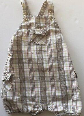 JANIE AND JACK Layette Boys Romper 6-12 Months Green Plaid Short Criss-Cross