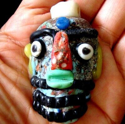 Ancient Phoenician Colorful Face Red Nose Beard Mosaic Glass Bead Pendant 647