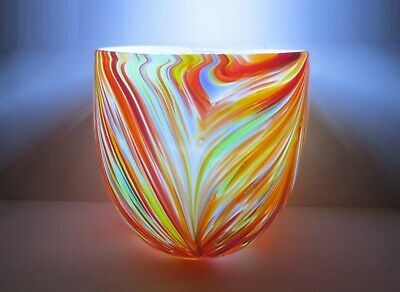 MURANO style PULLED FEATHER! WIDE MOUTH VASE/BOWL 2 LAYER CASED GLASS HAND BLOWN