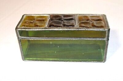 antique handmade signed Arts and Crafts leaded stained glass casket dresser box