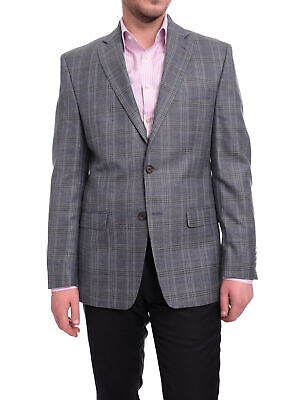 Mens 41R Ralph Lauren Blue Subtle Brown Plaid Wool Silk Linen Blend Blazer Sp...