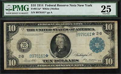 1914 $10 Federal Reserve Note New York FR-911a* - STAR NOTE - 29 Known!!!