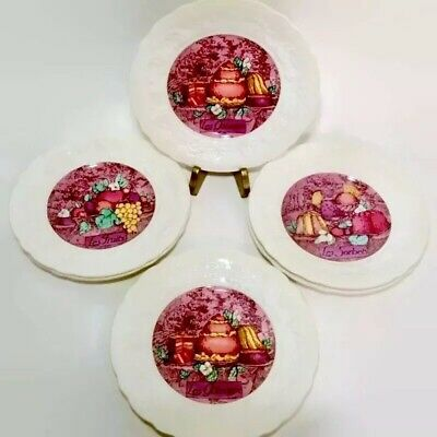 6 Gien Les Delices Dessert Plates France Marie-Pierre Boitard Embossed Grapevine