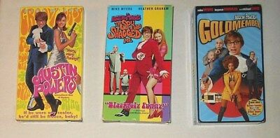 Lot 3 Austin Powers Movies Part 1, 2, 3 Collection VHS 3-Tape Set Comedy Funny