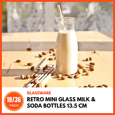 MINI GLASS MILK SODA BOTTLES 220 ML | Retro Diner Milk Bottles Vials Reusable