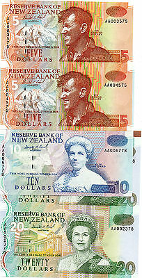 3 New Zealand Uncut Pair Of $5- $10- $20 Notes Same Signature First Prifix Aa 00