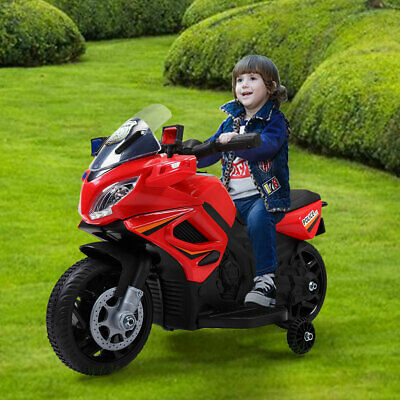 6V Kids Motorcycle Powered Electric Ride On Toy Car w/ 2 Training Wheels Red