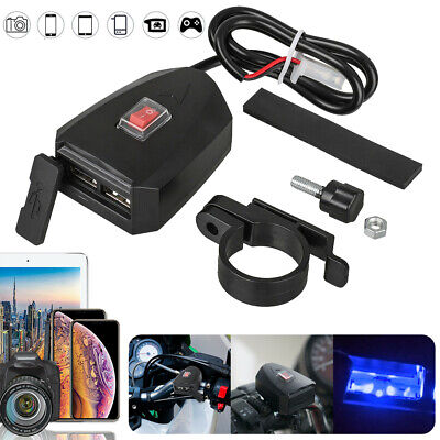DC 12V ATV Motorcycle Dual USB Port For Phone Charger Handlebar Mount w/ Switch