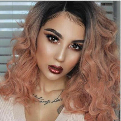 Women Fashion Synthetic Hair Lace Front Wig Body Wavy Full Wigs Ombre  Rose Pink