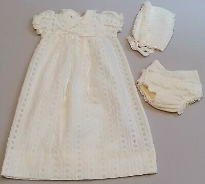 Vintage Madonna Baby Christening Gown Ivory Lace 4 pc Bonnet Diaper Cover Slip