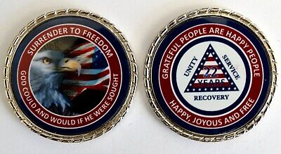 """Alcoholics Anonymous 2 Year Native American Rope Edge Sobriety Coin Chip 1 3//4/"""""""