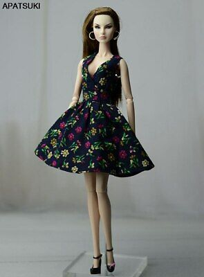 """Summer Black Floral Dress For 11.5"""" 1/6 Doll Clothes Outfit Fashion Doll Clothes"""