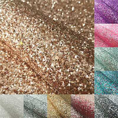 Ultra Sparkly Hexagon Chunky Glitter Fabric A4 Sheet Vinyl Faux Leather for Bows