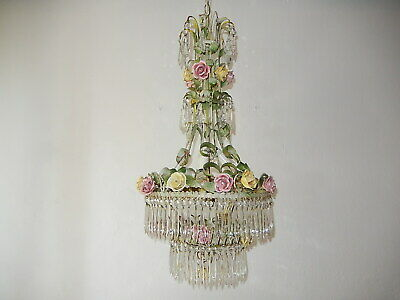 ~c 1920 French Tole Porcelain Roses & 4 Tiers of Crystal Prisms Chandelier WOW!~