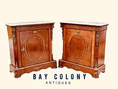 20Th C French Napoleon Iii Antique Style Pair Of Marble Top Consoles / Cabinets