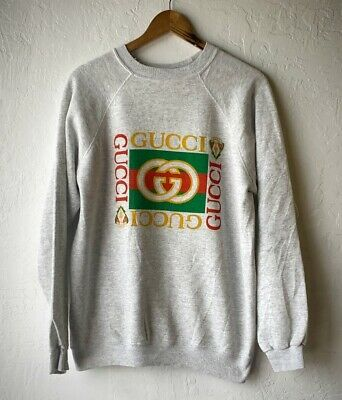 VINTAGE 80S/90S BOOTLEG GUCCI sweater HEATHER GREY Hanes Tag Size L/XL Hip  Hop