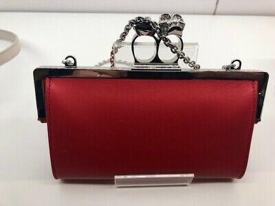 Alexander Mcqueen Ladies Red Knuckle Cross Over Purse Bag New In Box