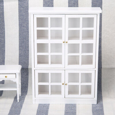 Miniature Cabinet Wooden Display Cupboard  Furniture For 1/12 Dollhouse Decor