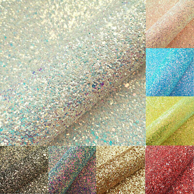 Ultra Chunky Iridescent Glitter Fabric Vinyl Faux Leather Sheet Roll Bows Craft