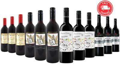 $85 Delivered Delightful Shiraz & Merlot Red Wine Mixed 12x750ml RRP$229