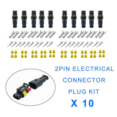 10X 2Pin Way Plug Kit Car Waterproof Electrical Wire Cable Automotive Connector