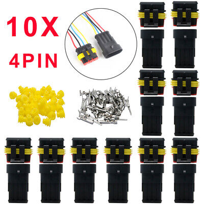 10X Car Waterproof Electrical Wire Cable Automotive Connector 4 Pin Way Plug Kit