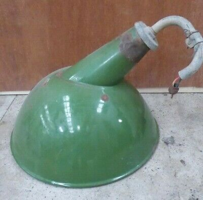 Vintage Green & White Enamel Industrial Factory Light Shade Wall Lamp