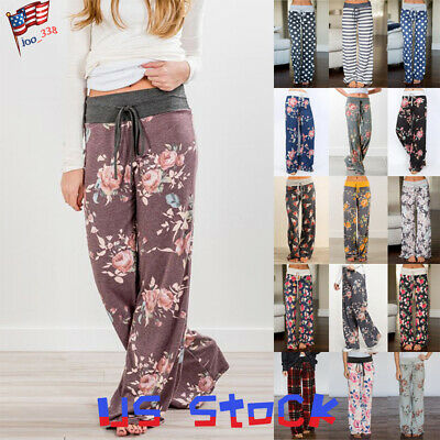 Women Stripe Floral Printed Pants Loose Wide Leg Trousers Stretch Yoga Casual US