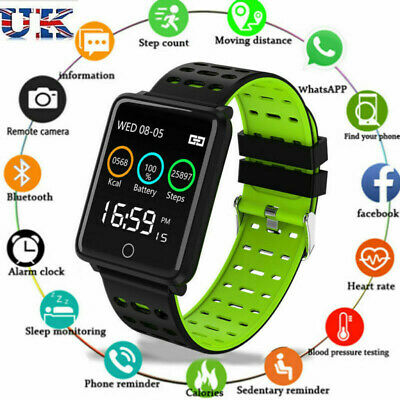 Bluetooth Sport Smart Watch Blood Pressure Heart Rate Monitor for iOS Android AN