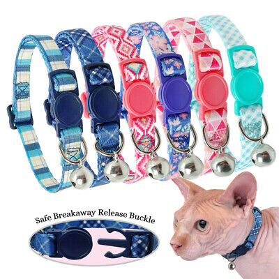 Adjustable Cute Printed Cat Breakaway Collar with Safety Quick Release Buckle
