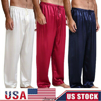 US Mens Silk Satin Pajamas Pyjamas Long Pants Sleep Nightwear Sleepwear Trousers