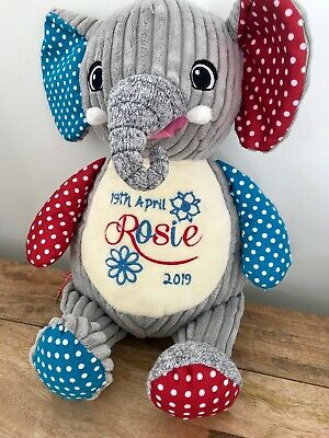 Personalised Embroidered Cubbie Harlequin Elephant Teddy Children Baby Gift