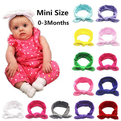 Newborn Kids Baby Girls Hairband Cute Elastic Bow Knotted Rabbit Headband 13CM