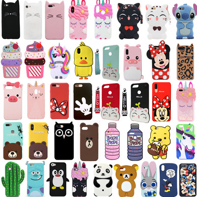 Cases For iPhone 5S 6 7 8Plus XS 3D Cartoon Silicone Phone Cases Cover Kids Skin