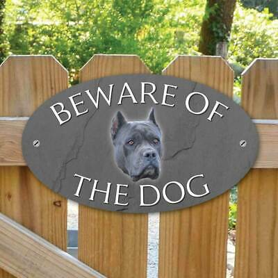 Beware of the blue cane corso Gate Sign, Outdoor Beware of the Dog Gate Plaque