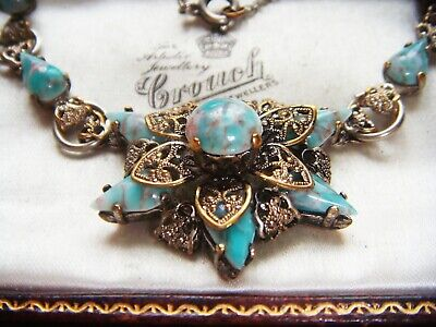 VINTAGE ART DECO Gorgeous CZECH FILIGREE TIERED TURQUOISE Star Flower  NECKLACE