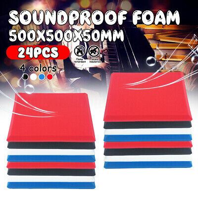 24pcs 50X50CM Studio Block Acoustic Foam Sound Absorbtion Proofing Panel 28kg/m3