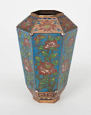 Vintage Chinese Cloisonne & Champleve Enamel Hexagonal Vase with Floral Design