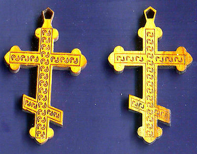 Lot Of 10 Large Russian Orthodox Olive Wood Crosses From Jerusalem