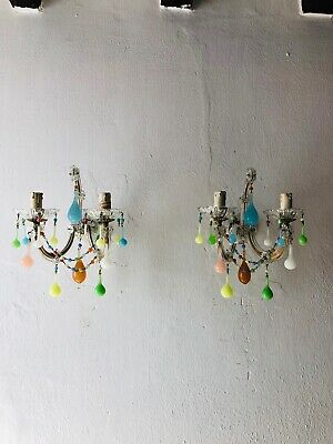 ~c 1920 French Yellow Green Pink Blue Murano Opaline Drops Sconces~
