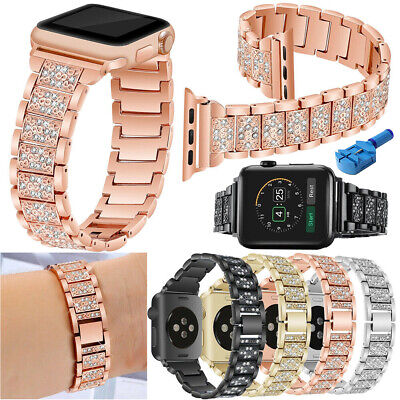 Women Stainless Steel Metal iWatch Strap For Apple Watch Band 40mm 44mm Series 4