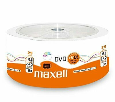25 Stück Maxell Dvd+R Double Layer 8X 8.5 Gb Printable Rohlinge