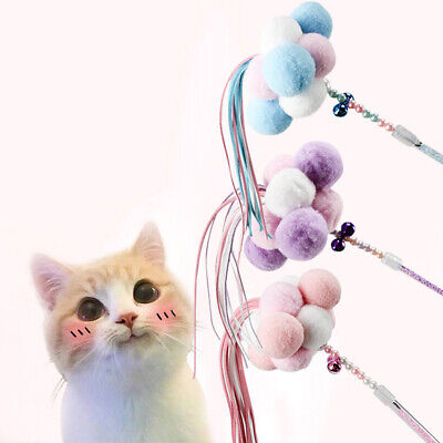 Pet Cat Toys Teaser Wand Toy Stick Feather Interactive Play Funny Pet Supply U、