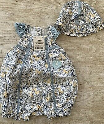 Baby Girls Summer Floral 2 Piece With Hat Romper NEXT Brand New Up To 3 Months